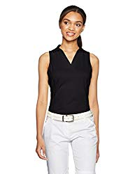 Womens golf attire etiquette Sleeveless top and white slack