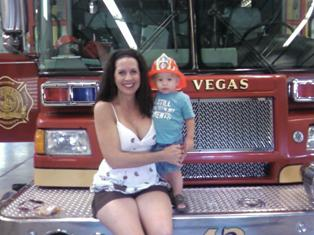 Elizabeth Hammack and son at Las Vegas Fire and Rescue